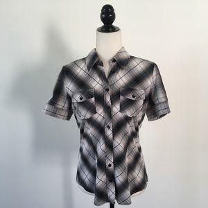 NY & Company Plaid Button Down Short Sleeve Shirt